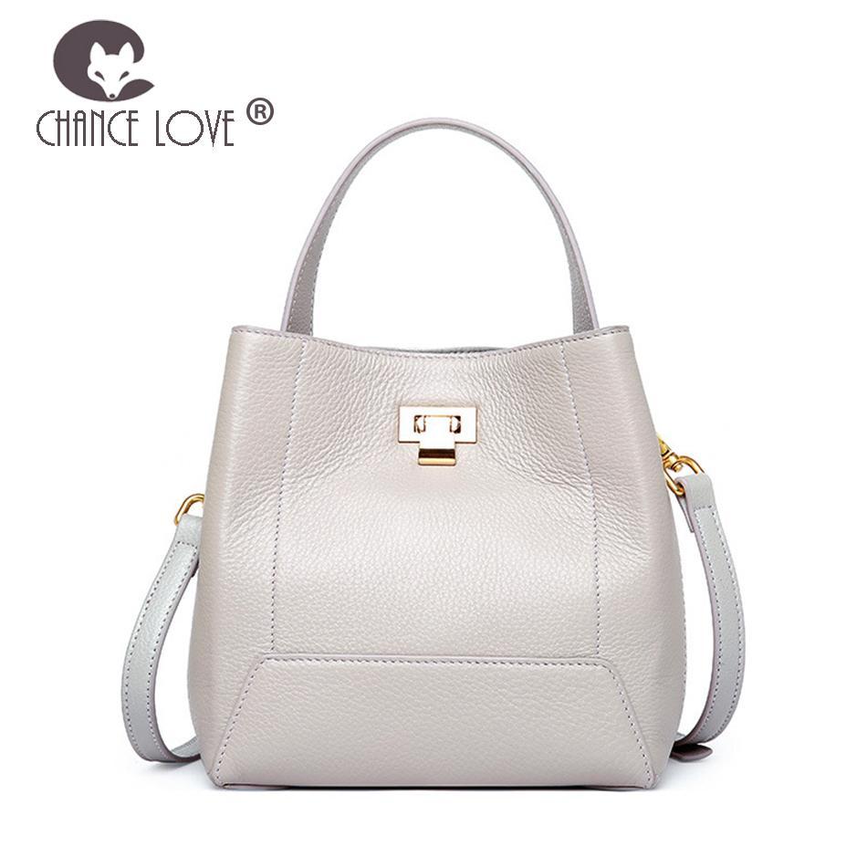 Chance Love 2018 New Genuine Leather Handbags Fashion Bucket Bag ... a3f5592582299