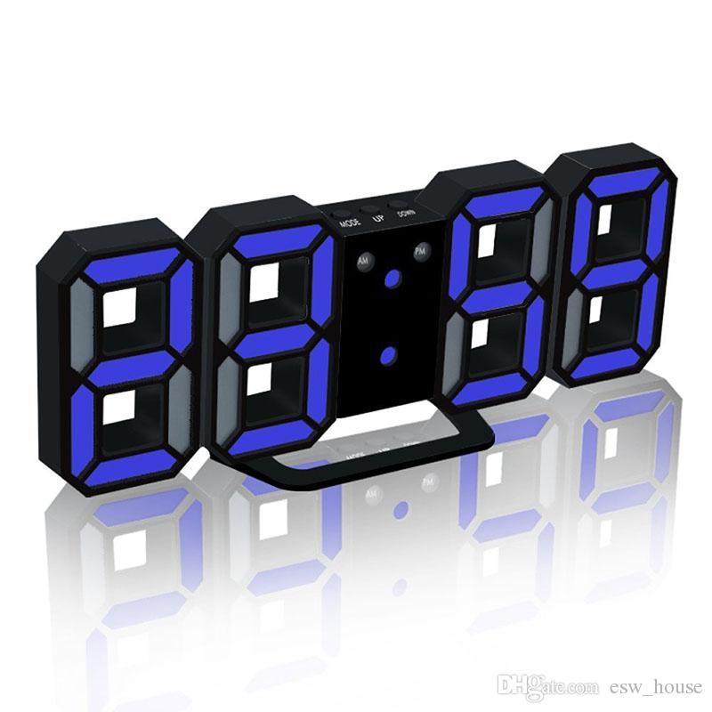 현대 디지털 벽 시계 LED 테이블 시계 다채로운 시계 24 또는 12 시간 디스플레이 알람 스누즈 알람 시계 홈 룸 장식