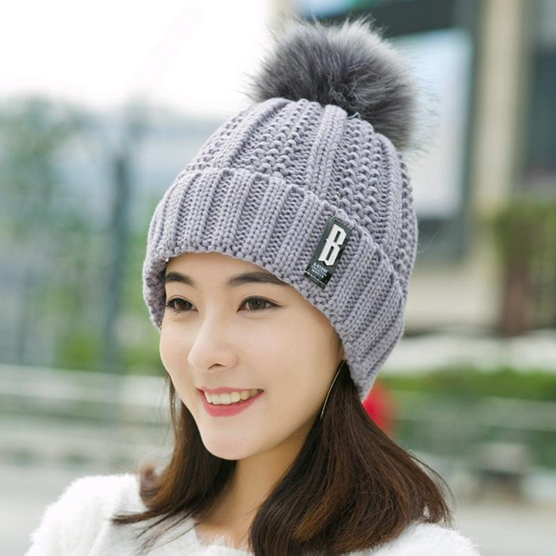 6a90eb1b7fd Womens Winter Beanie Hair Ball Cap Warm Knitted Winter Hat B Letters Hats  Women Women Girl Ball Ski Wool Yarn Knitting Knit Beanie Cap Shop From  Heathere