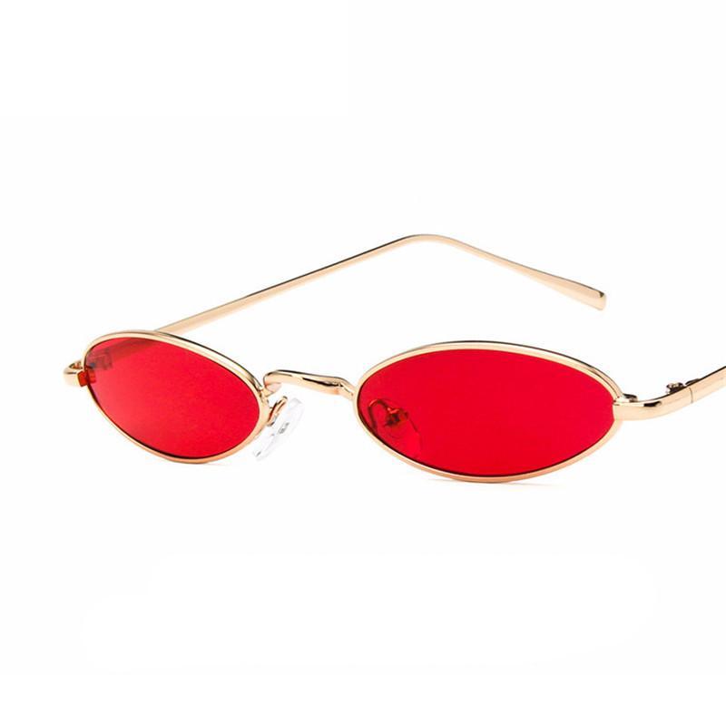 ec15b44e27715 Compre Moda Oval Pequeno Fino Óculos De Sol Das Mulheres Dos Homens Da Moda  Design Da Marca Plana Lente De Armação De Metal Eyewear UV400 Oculos De Sol  ...