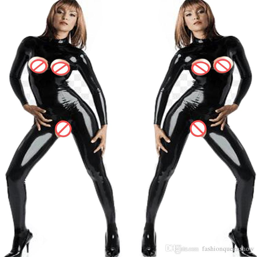 9c0221ab878 2019 Plus Size 5XL Sexy Catwoman Costume Erotic Open Bust Crotch Bodysuit  Long Sleeveless Faux Leather Catsuit Sexy Women Jumpsuit From  Fashionqueenshow