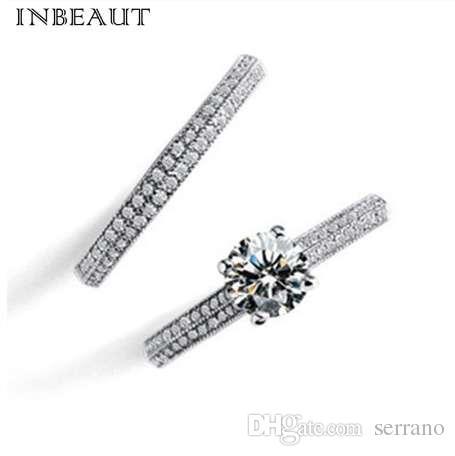 a34a50aacd INBEAUT Women Wedding Ring Set Sparkling Perfect Round Cut Zircon ...