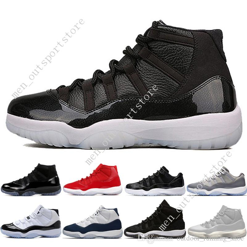 11 11s Cap and Gown Prom Night Men Scarpe da pallacanestro Platinum Tint Gym Red Bred PRM Heiress Barons Concord Space Jam 45 sneakers sportive uomo