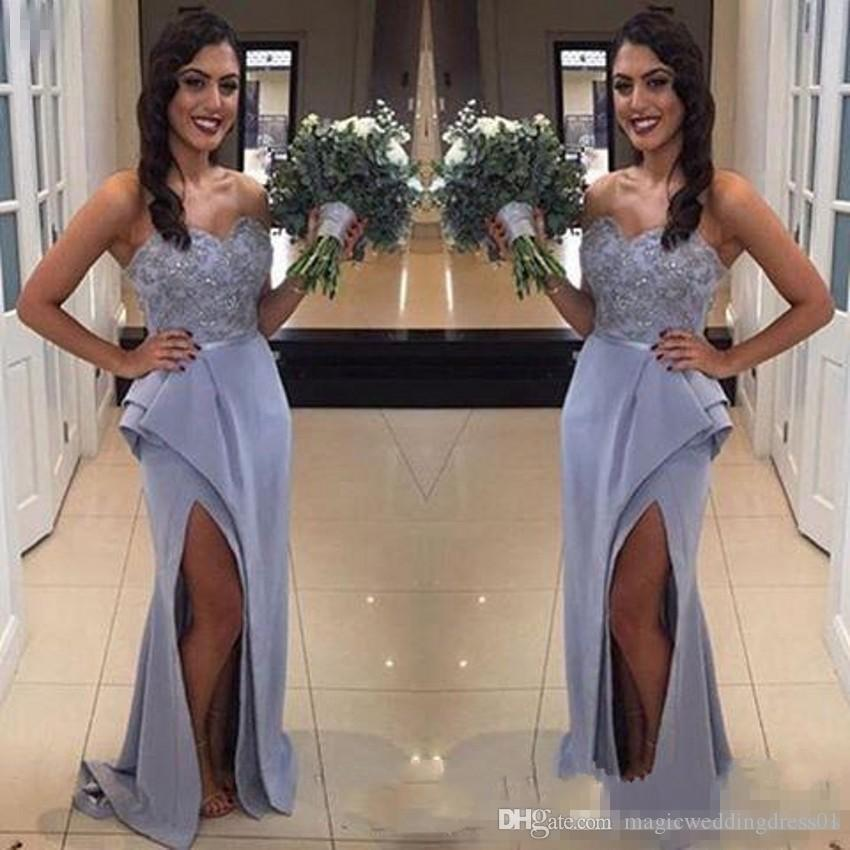 a136acd06d46 Elegant Lavender Satin Lace Mermaid Bridesmaid Dresses 2018 Sweetheart Sexy Front  Split Country Style Maid Of Honor Wedding Guest Wears Full Length ...