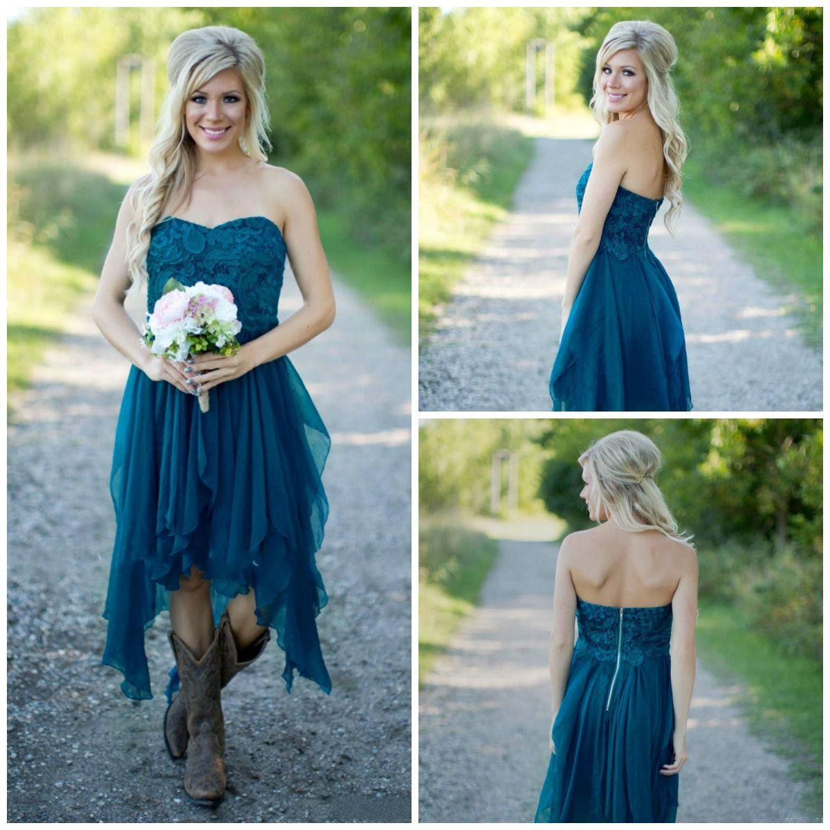 Summer Beach Short Bridesmaid Dresses Lace Applique Sweetheart Neck ...