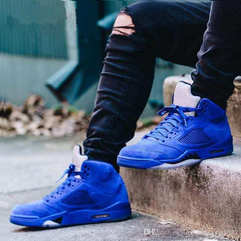 Best classic 5 5s V Mens Basketball Shoes sneaker Olympic black Cement OG space jam red blue Suede Fire Red Sports trainer discount