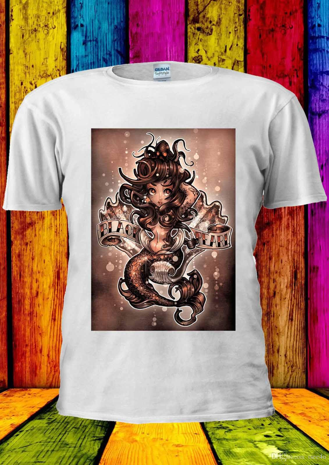 174aafbc7 Acquista Mermaid Ariel Art Paint Black Pearl T Shirt Vest Canotta Uomo  Donna Unisex 2195 A  13.19 Dal Isee4u