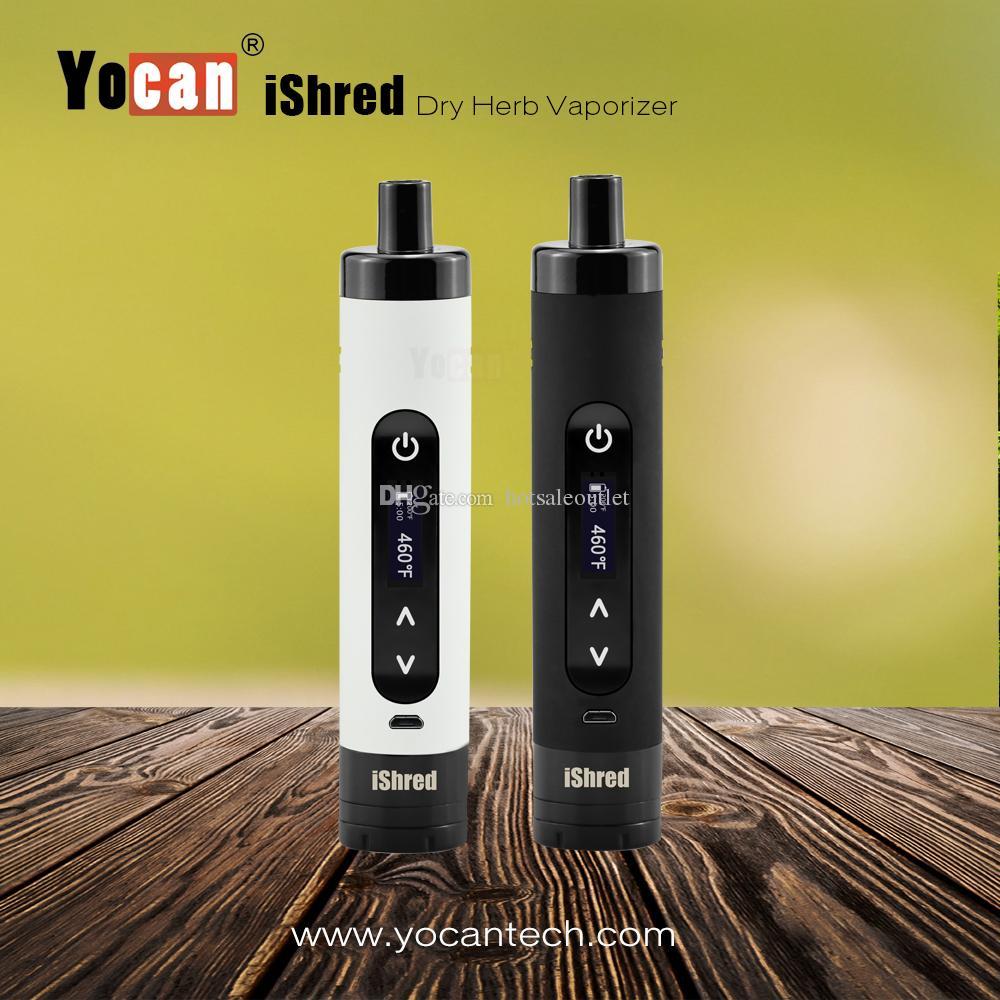 Auténtico Yocan iShred Vaporizador seco Vape Pen Starter Kit Ceremic 2600mah Kit de cigarrillos electrónicos con pantalla LDC