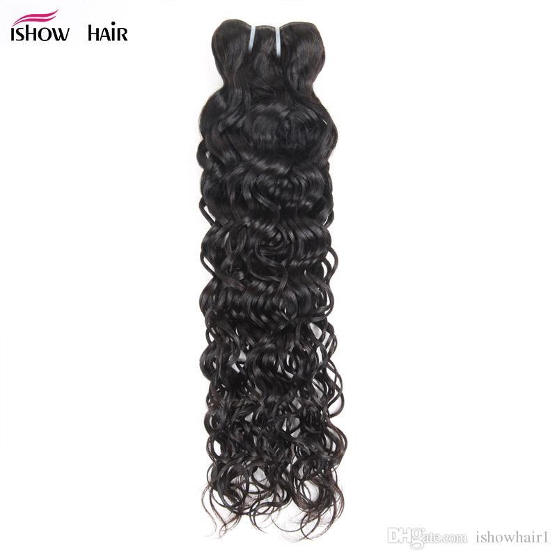 Ishow человеческие пакеты волос Wefts бразильское перуанское малазийское тело прямо свободно воду вьющиеся вьющиеся ткани один кусок образец 8-28 дюймов для женщин все возрасты натуральный черный