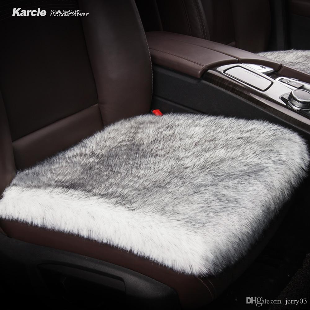 Karcle 1PCS Car Seat Covers 6CM Long Plush Breathable Seat Cushion Car Styling Super Warm for Winter Non-slip Auto Accessories