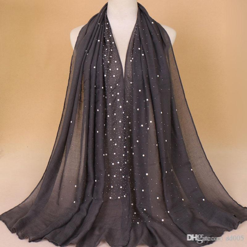 Fashion Cotton And Linen Scarf Solid Color Designer Brand Muslim Lady Hijabs Bead Scarves Popular Shawl 13 78aw Hh