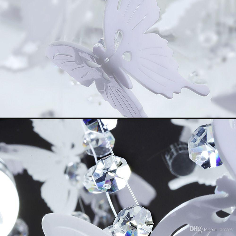 OOVOV Round White Feather Plafoniera in cristallo, 24W, LED, Acrilico, Farfalla, camera da letto, Princess Room, Soggiorno