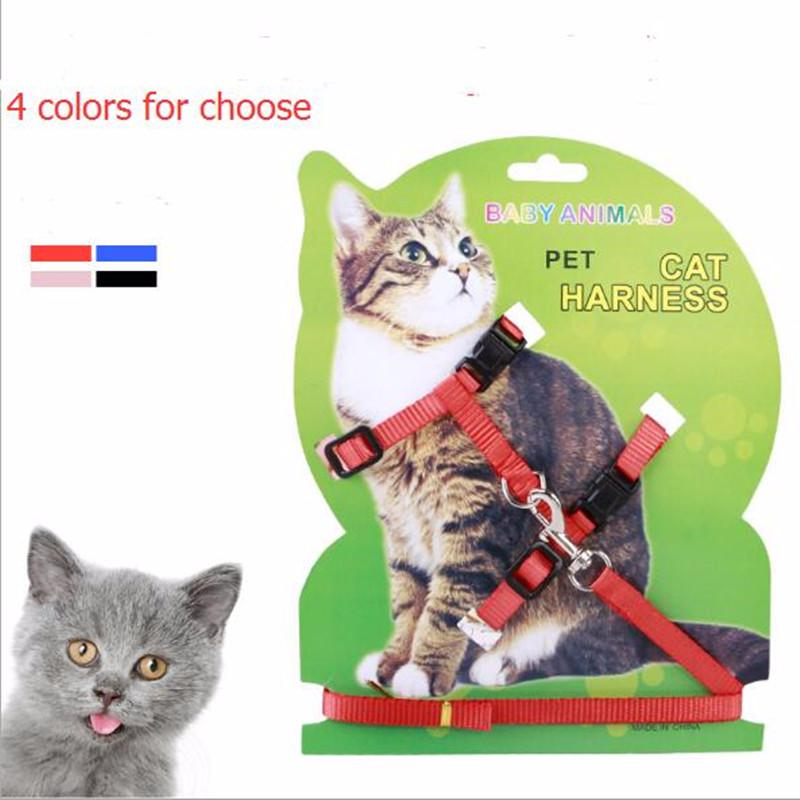 Vendita calda 4 colori prodotti in nylon per pet Cat Harness and guinzaglio regolabile Pet Traction Harness Belt Cat Kitten Halter Collar Cat