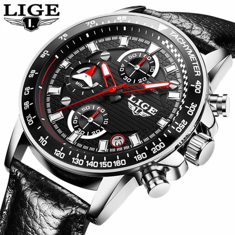 2a81ecf7e53 Compre LIGE Mens Relógios Top Marca De Luxo Cronômetro De Couro Relógio De  Quartzo Dos Homens De Negócios Casuais À Prova D  Água Esporte Relógio  Relogio ...
