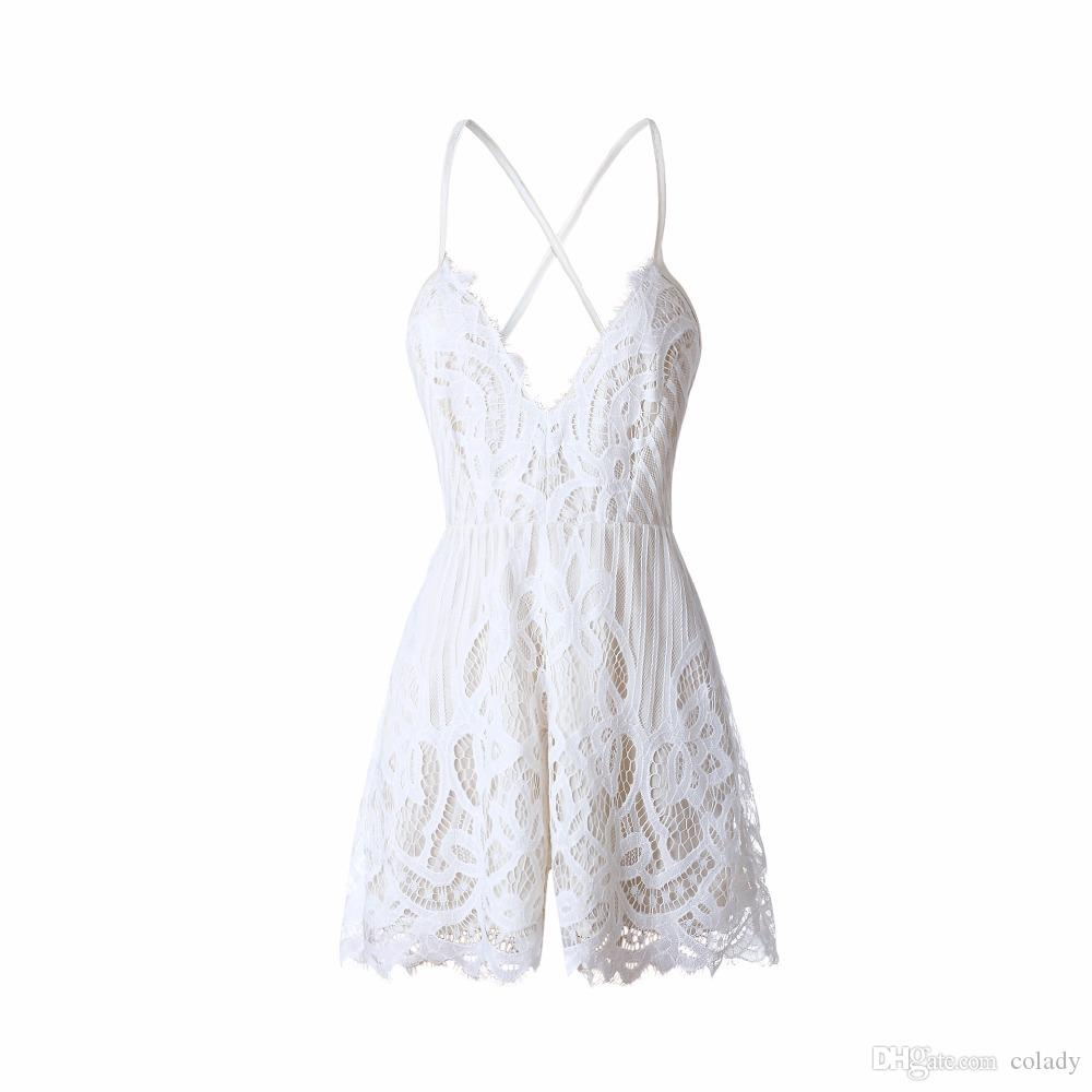 Mulheres Branco Rendas Spaghetti Strap Playsuit Sexy Profundo Decote Em V Curto Macacões Romper Verão Praia Sem Mangas Casual Macacão