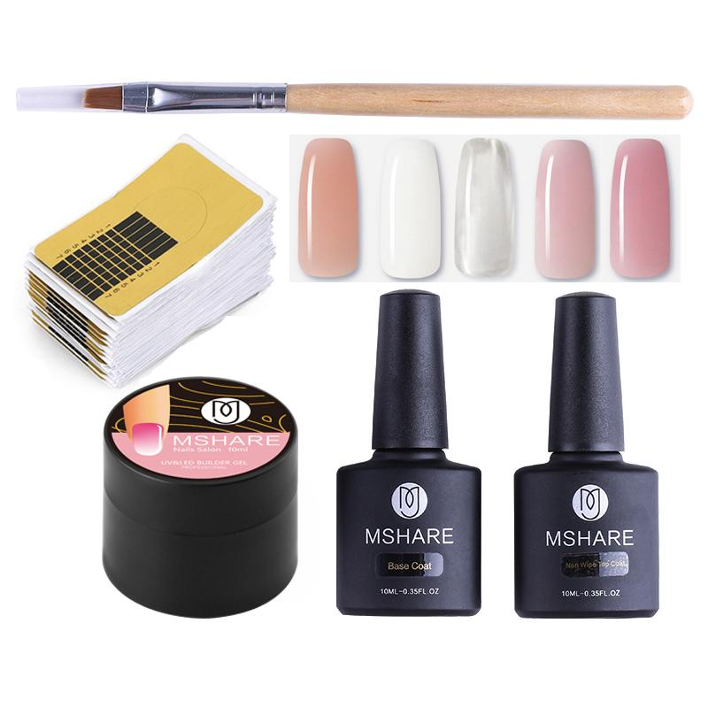 MSHARE UV Builder Gel Set 5pcs Nails Form Nail Art Model Poly Gel Nail Extension White Clear Pink Varnish