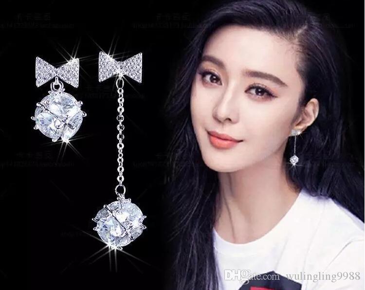 haute qualité nouvelle dame boucles d'oreilles, boucles d'oreilles en argent sterling 925, bijoux en cristal floraux, mode bijoux en gros MOQ 20
