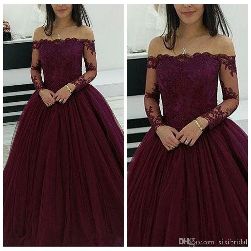 Elegant Burgundy Dresses Evening Wear Off Shoulder Lace Appliques Long Sleeves Puffy Ball Gown Tulle Prom Party Dress Formal Gowns