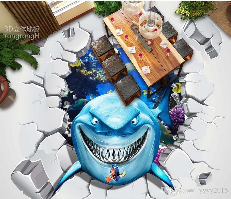 wallpaper brick wall 3d Sea World shark 3D three-dimensional painting floor painted tile painting