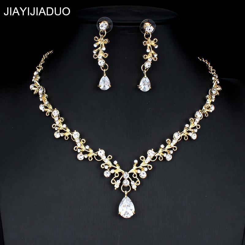 Schmuck & Zubehör Hochzeits- & Verlobungs-schmuck Jiayijiaduo Braut Elegante Und Elegante Schmuck-set Für Frauen Gold-farbe Kristall Imitation Perle Halskette Ohrringe Schmuck-set
