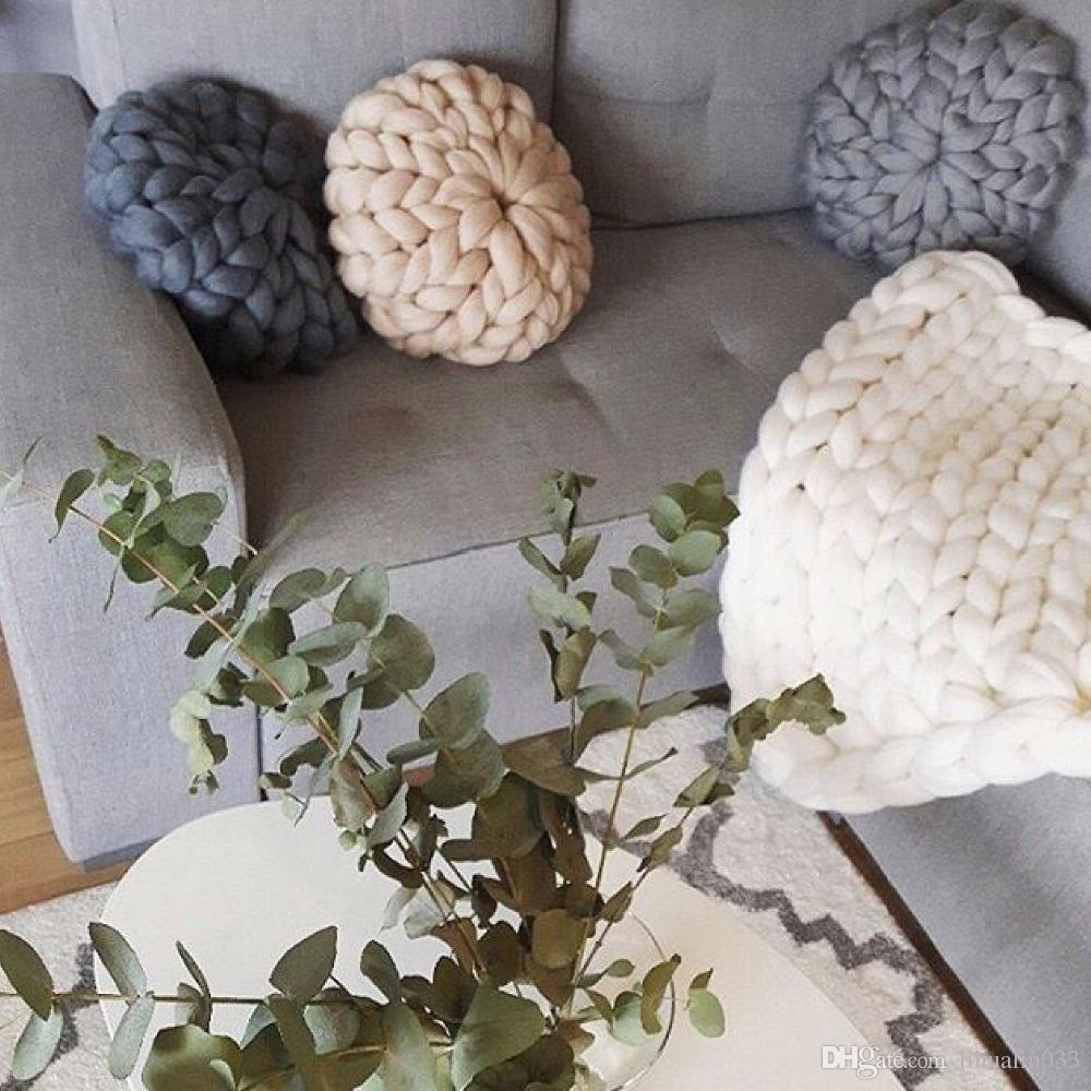 hecho a mano con nudos Nudo Bola cojines de decoración del coche del sofá amortiguador trasero Inicio almohadas decorativas