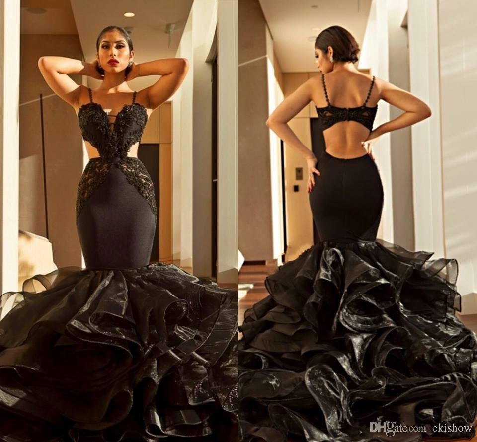 2018 Sexy Arabic Black Spaghetti Lace Appliques Prom Dresses Sweetheart Tiered Backless Ruffles Cutaway Evening Gowns Formal robe de soiree