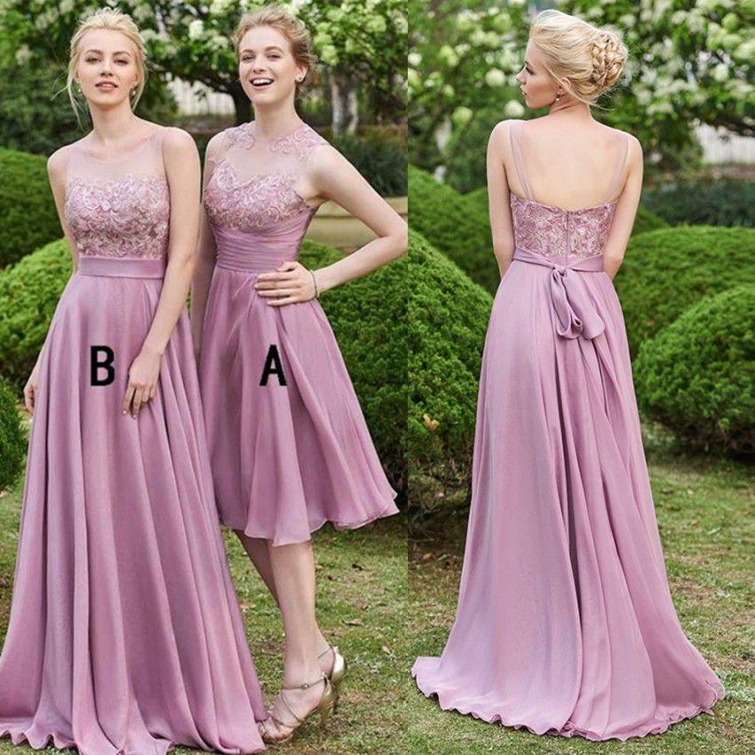 52b840b2813 Hot Sell Dusty Rose Bridesmaid Dresses Long Chiffon A Line Sleeveless  Keyhole Backless Lace Top Short Wedding Maid Of Honor Gowns BM0160 Silver  Bridesmaid ...