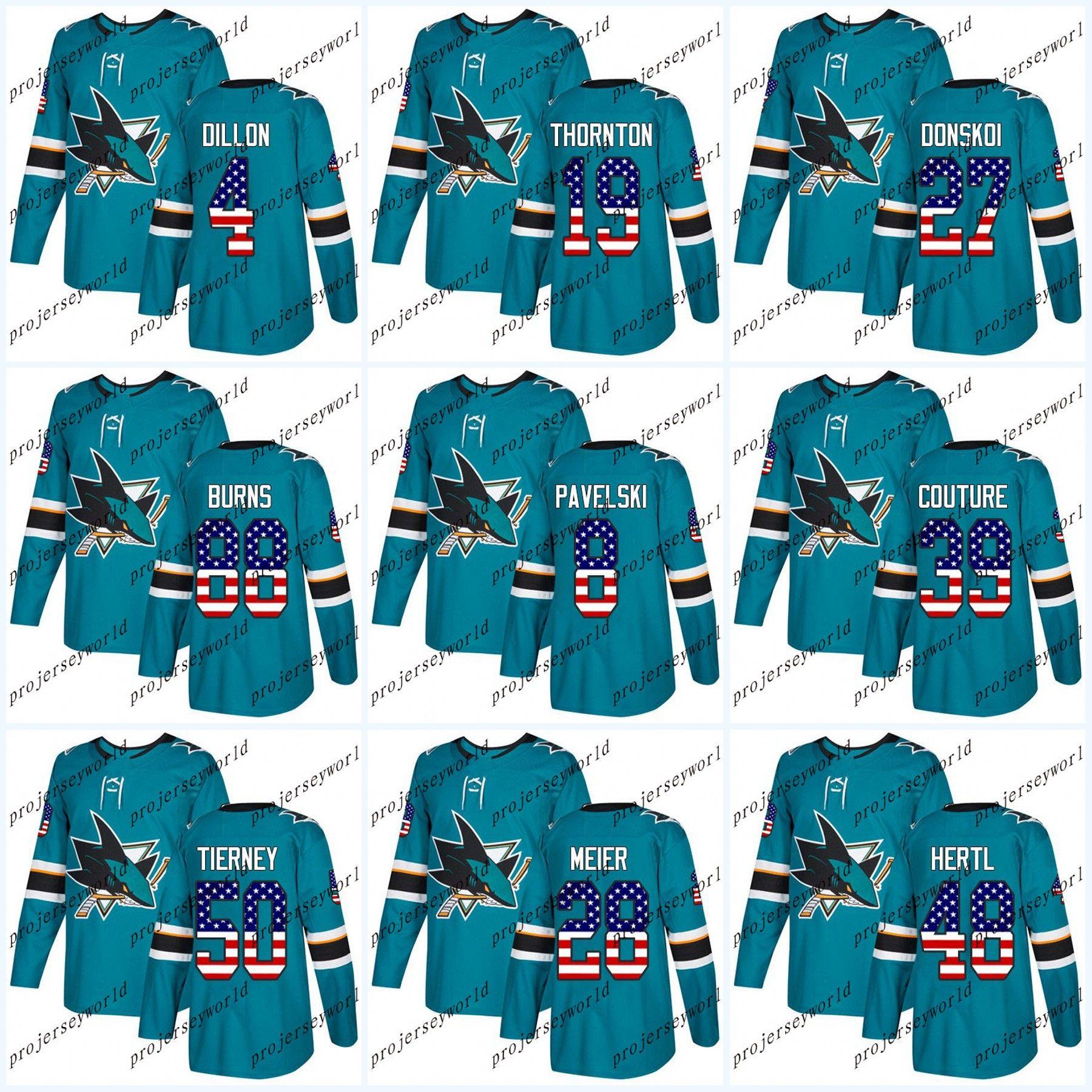 05b5fc02c USA Flag Stitched San Jose Sharks 19 Joe Thornton 8 Joe Pavelski 88 ...