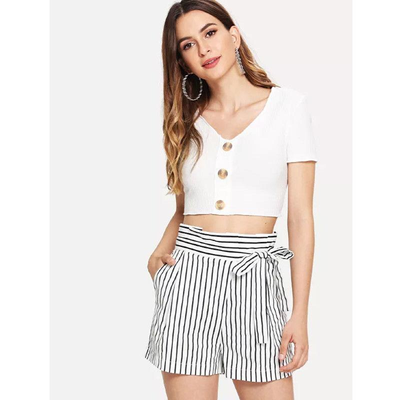 a2673d71f5 2019 Women Shorts Casual Knot Side Striped Shorts High Waisted Summer Hot  Beachwear Casual Trousers From Qinfeng08, $24.75   DHgate.Com