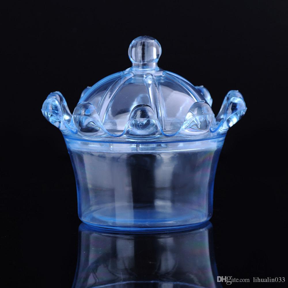 Wholesale Plastic Crown Transparent Candy Box Chocolate Storage Box Baby Shower Wedding Gift