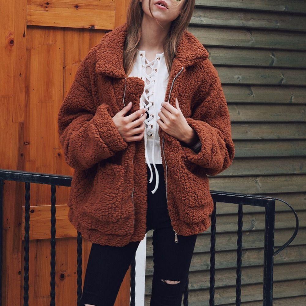 Kabarık Kadın faux kürk Ceket siyah Ordu Yeşil Deve Koyu Kahve Uzun Kollu ceket Yapay Kürk sıcak yumuşak kadın kış Palto