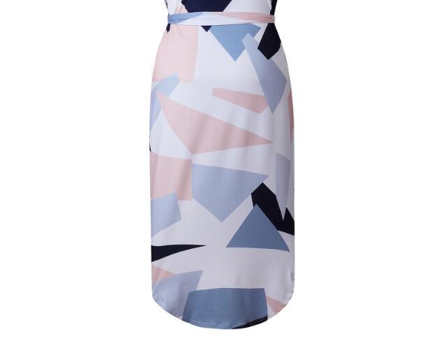 Vestido de verano de las mujeres de impresión de moda elegante lindo Sashes con cuello en V rodilla-longitud 2018 Sexy vestido de la envoltura delgada Vestidos de las mujeres Vestidos