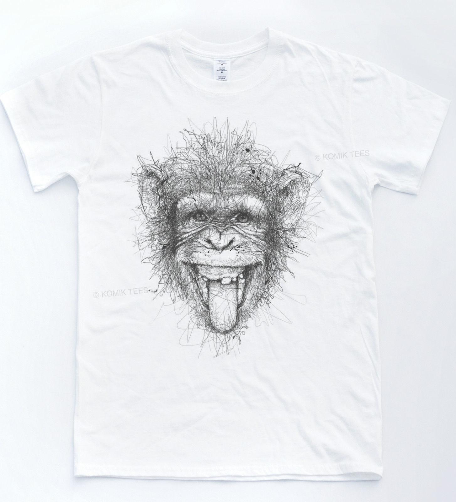 Monkey sketch t shirt drawn art indie tee animal chimp funny portrait pencil top long sleeve shirt t shirts design from tshirtemperor23 11 17 dhgate com