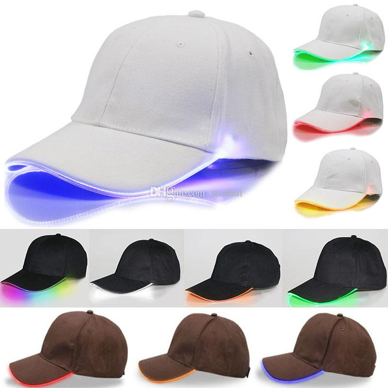 LED Lighted Baseball Cap Glow Club Baseball Hip Hop Golf Dance Hat Optical  Fiber Luminous Ball Cap Adjustable Xmas Party Hat Free DHL WX H01 Adult  Birthday ... c90c8ece6cdc