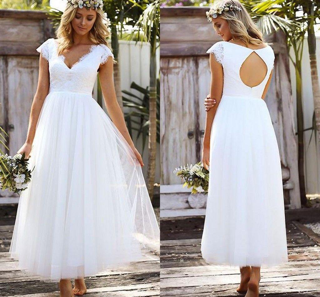1f577d2d24 V-neck Short Sleeve Wedding Dresses Beach 2019 Open Back Amazing Lace  Empire Waist Wedding Gowns Garden Bridal Dress Custom Made Beach Boho Wedding  Dress ...
