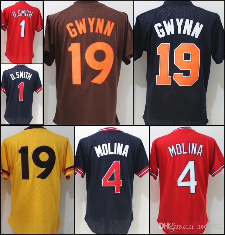 794a7b72 2019 Men Throwback Baseball Jerseys 19 Tony Gwynn 1 Ozzie Smith 4 ...