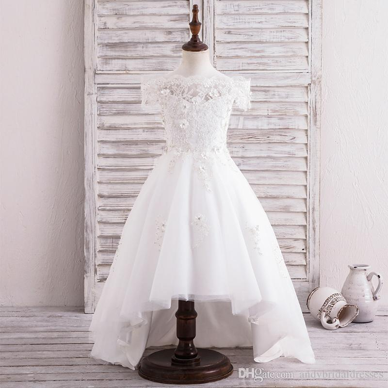 Cute High Low Flower Girls Dresses For Weddings Sheer Neck Cap Sleeves Lace Flowers Tulle Toddler Holiday Birthday Party Dresses