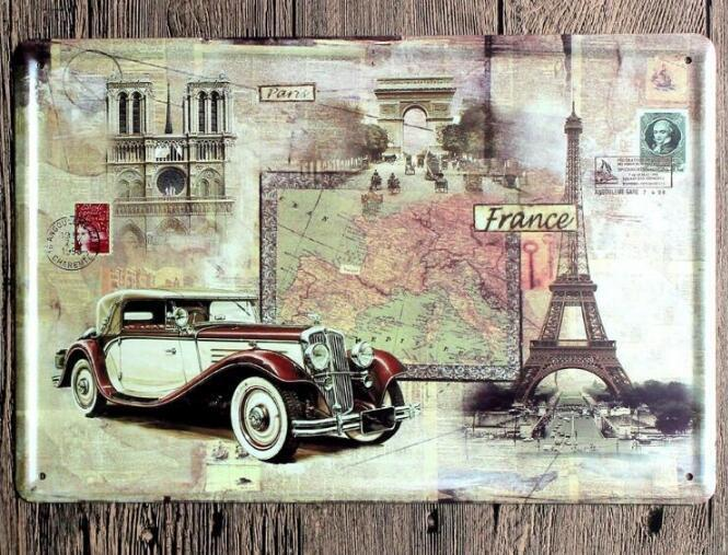 Vintage Car Tin Signs Wall Art Retro Route 66 Tin Sign Old Wall Metal Painting Art Bar Pub Coffee Restaurant Home Decoration 333