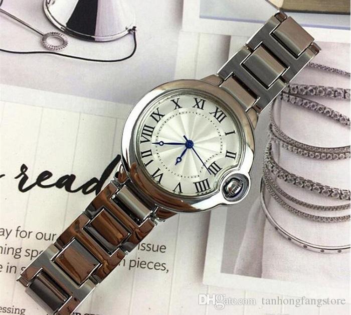 뜨거운 모드 자동 날짜 남자 시계 여성 시계 여성 시계 스틸 시계 실버 블랙 골드 팔찌 손목 시계 브랜드 여성 시계 무료 배송