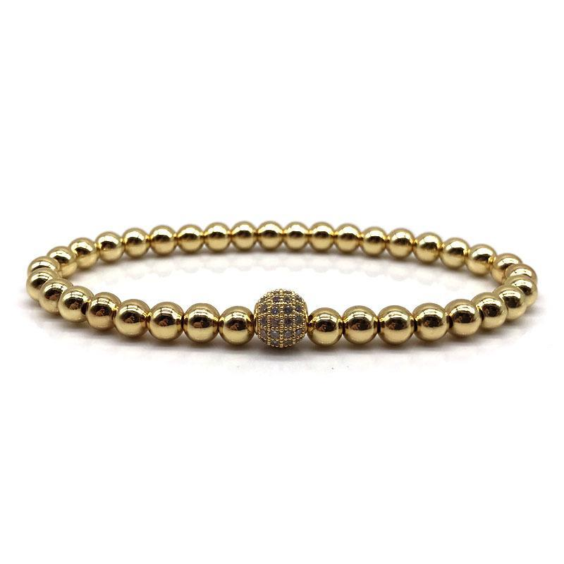 2018 Brand Fashion New Men Bracelet 6mm Copper Beads Pave Black CZ 8mm Ball Charm Bracelet Jewelry Yoga Pulsera Hombres 2185