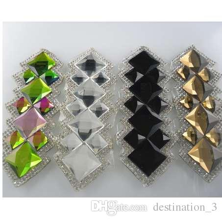 100 pieces  6mm TRIANGLE GLASS CRYSTAL CLEAR RHINESTONES IRON ON HOTFIX