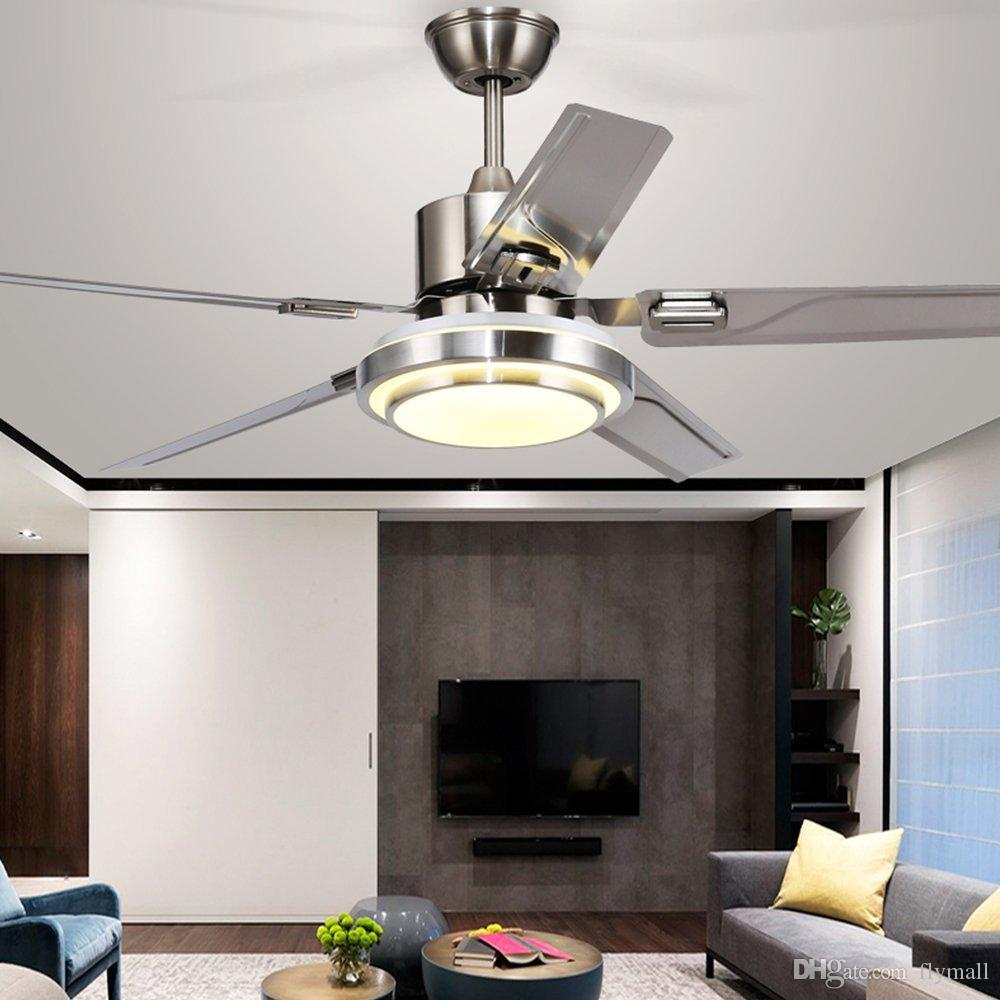 Modern Ceiling Fan 5 Stainless Steel Blades Remote Control LED 3 LED Changing Light Ceiling Fans for Indoor Mute Energy Saving Electric Fan
