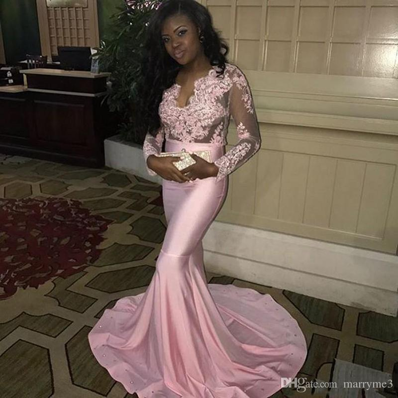 2018 Pink Arabic Evening Dresses Sexy See Thorugh Deep V Neck Long Sleeves Lace Appliques Sweep Train Black Girls Evening Gowns ME002