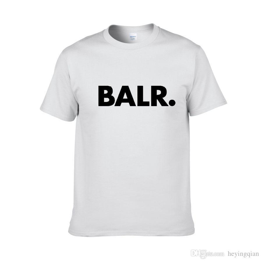 2018 новый летний бренд BALR одежды O-образным вырезом молодёжные мужские футболки печать Hip Hop футболки 100% хлопок моды для мужчин футболки