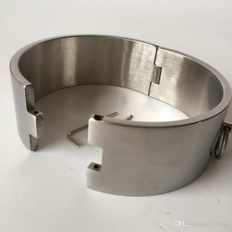 2018 New BDSM Sm Sex Toys Luxury Stainless Steel Heavy Duty Collar / Thick Iron Locking Collar Mirror Polished