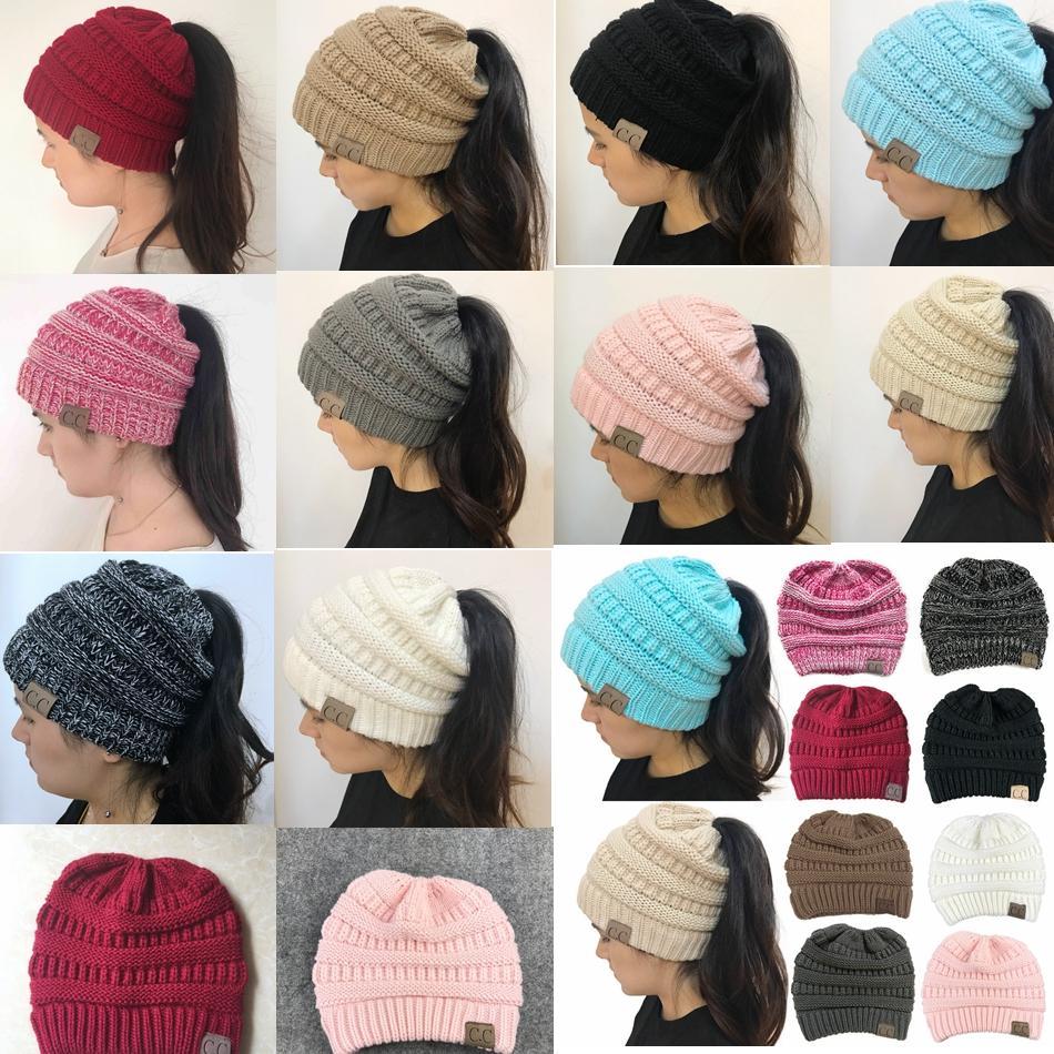 96d693793f7 CC Beanie Hat Women Crochet Knit Cap Winter Skullies Beanies Warm Caps  Female Knitted Hats For Ladies Winter Ponytail Hat GGA799 CC Beanie Hat CC  Knit Ca Cc ...