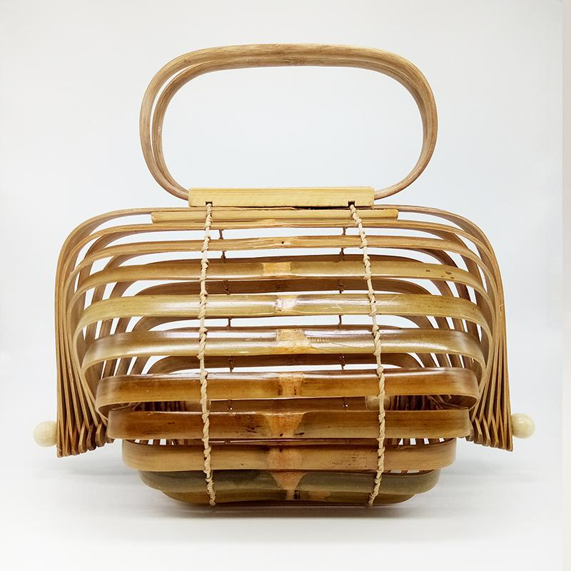 Bamboo Bag Women Top-handle Beach Bag Summer Boho Woven Wooden Hollow Out Women Clutch Handbag Foldable Rotatable Axis Design