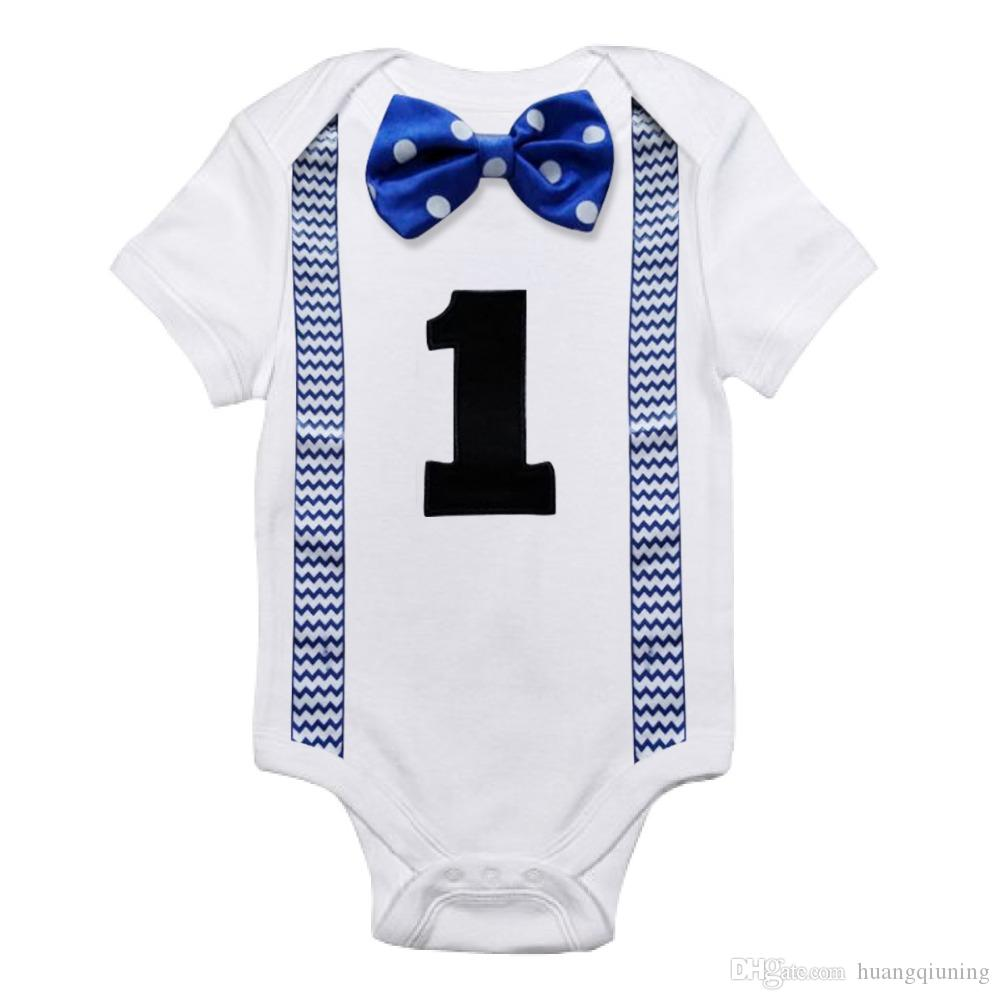 c76720b56740 Baby Boys Rompers Little Gentleman Suspenders Tie Bow Boys Summer ...