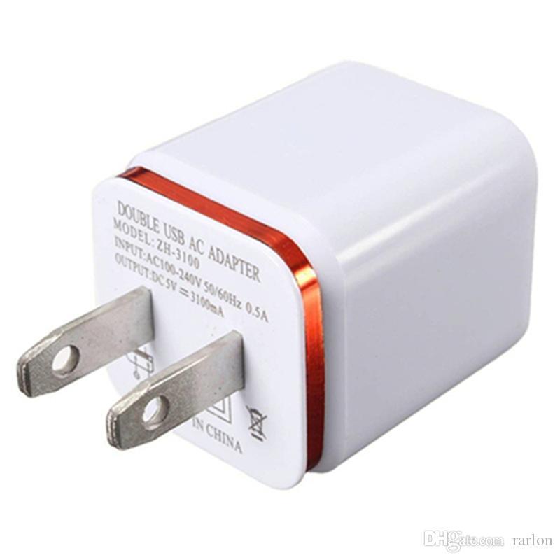 Cargador de carga de pared USB dual de metal US EU Plug 2.1A Adaptador de corriente alterna Cargador de pared Plug 2 puerto para Samsung Galaxy Note LG Tablet Ipad