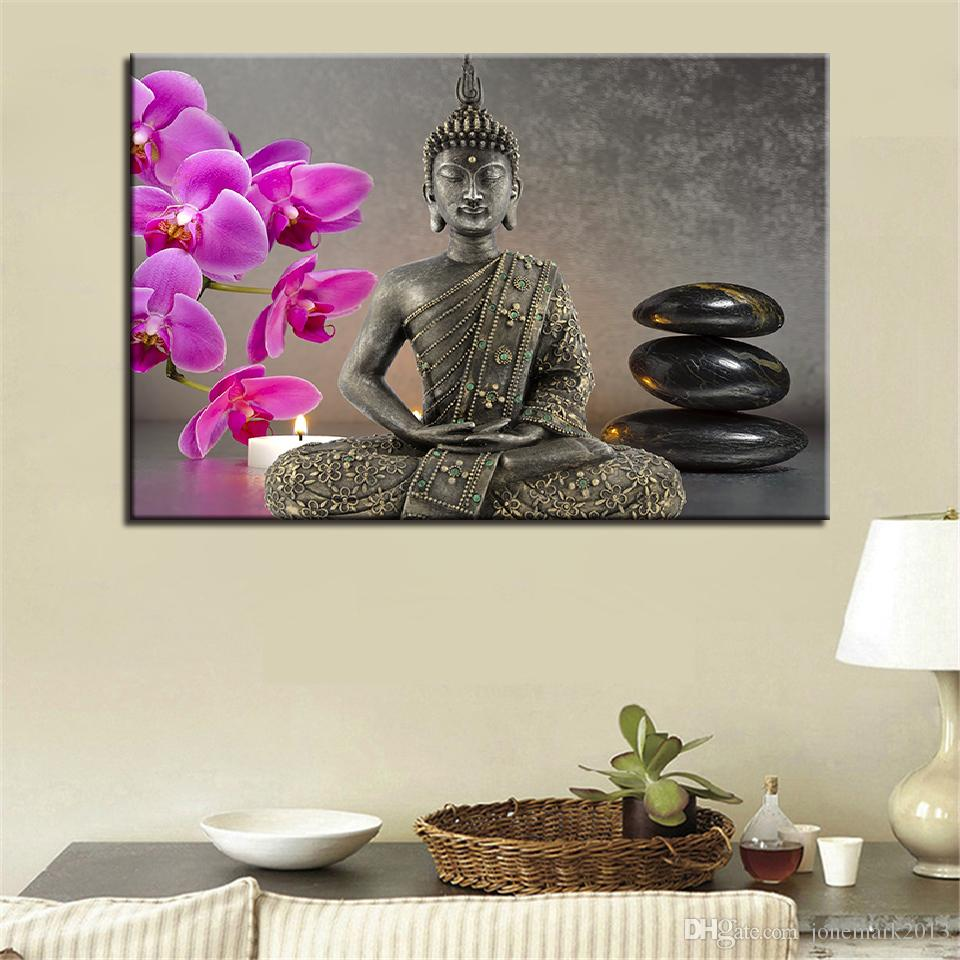 Canvas Paintings Home Decor HD Prints Buddha Statue Pictures /Pcs Orchid Candles Stones Poster Living Room Wall Art Frame